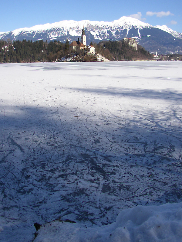 Skate Tracks On A Frozen Lake Bled by caymanlogic