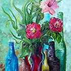 Antique Bottles and Flowers by EloiseArt