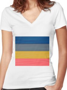 Brush Stroke Stripes: Blue, Grey, Gold, and Pink Women's Fitted V-Neck T-Shirt