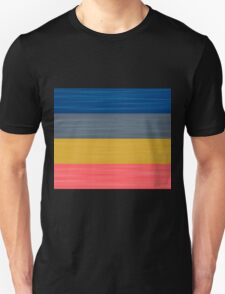 Brush Stroke Stripes: Blue, Grey, Gold, and Pink Unisex T-Shirt