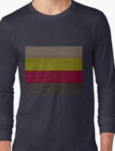 Brush Stroke Stripes: Taupe, Green, Burgundy, and Grey Long Sleeve T-Shirt
