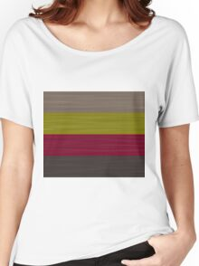 Brush Stroke Stripes: Taupe, Green, Burgundy, and Grey Women's Relaxed Fit T-Shirt