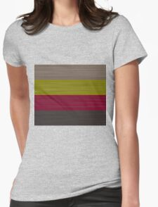 Brush Stroke Stripes: Taupe, Green, Burgundy, and Grey Womens Fitted T-Shirt