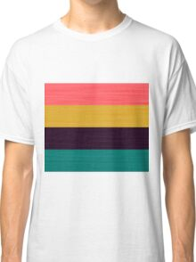 Brush Stroke Stripes: Pink, Gold, Deep Purple, and Turquoise Classic T-Shirt