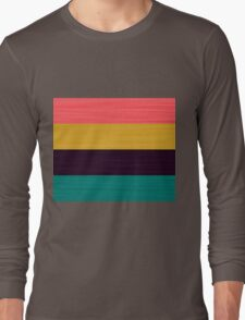 Brush Stroke Stripes: Pink, Gold, Deep Purple, and Turquoise Long Sleeve T-Shirt