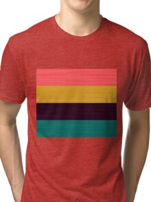 Brush Stroke Stripes: Pink, Gold, Deep Purple, and Turquoise Tri-blend T-Shirt