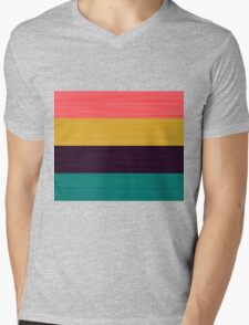 Brush Stroke Stripes: Pink, Gold, Deep Purple, and Turquoise Mens V-Neck T-Shirt