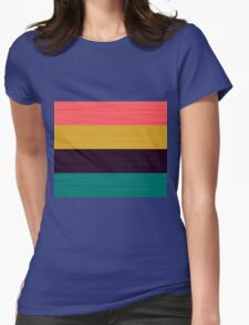 Brush Stroke Stripes: Pink, Gold, Deep Purple, and Turquoise Womens Fitted T-Shirt