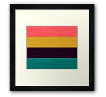 Brush Stroke Stripes: Pink, Gold, Deep Purple, and Turquoise Framed Print