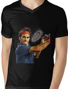 Roger Federer in action Mens V-Neck T-Shirt