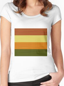 Brush Stroke Stripes: Fall Foliage Women's Fitted Scoop T-Shirt