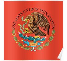 Close up of seal in the national flag of Mexico Poster