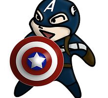 Cute Captain America is ready for Action by Sun Dog Alternative