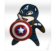 Cute Captain America is ready for Action Poster