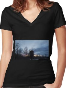 HDR Composite - Backlit Sunset Trees and Abandoned Silo Women's Fitted V-Neck T-Shirt