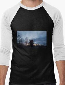 HDR Composite - Backlit Sunset Trees and Abandoned Silo Men's Baseball ¾ T-Shirt