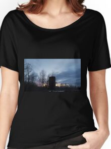 HDR Composite - Backlit Sunset Trees and Abandoned Silo Women's Relaxed Fit T-Shirt