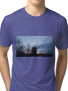 HDR Composite - Backlit Sunset Trees and Abandoned Silo Tri-blend T-Shirt