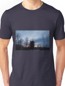 HDR Composite - Backlit Sunset Trees and Abandoned Silo Unisex T-Shirt