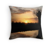 Irish Canal Sunset Throw Pillow