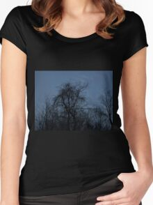 HDR Composite - Backlit Trees and Twilight Women's Fitted Scoop T-Shirt