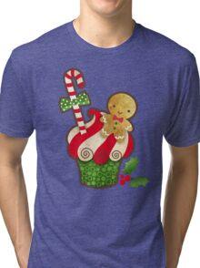Christmas Cupcake Tri-blend T-Shirt