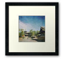 Ancient Temple and Pagoda of Horyu-ji in Nara Japan Framed Print