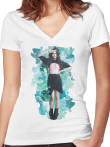 Camila Cabello Blue Splash!  Women's Fitted V-Neck T-Shirt