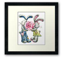 Valentine day. funny bunny Framed Print
