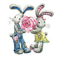 Valentine day. funny bunny Photographic Print