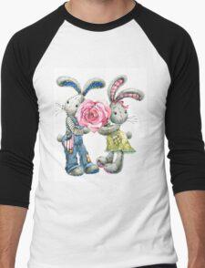 Valentine day. funny bunny Men's Baseball ¾ T-Shirt