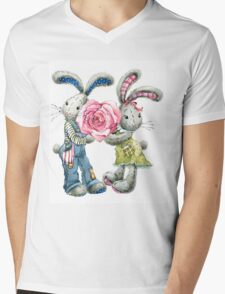 Valentine day. funny bunny Mens V-Neck T-Shirt