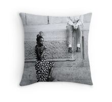 Black and White Teenagers Throw Pillow