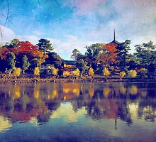 Sarusawa Pond Pagoda Nara Japan by Beverly Claire Kaiya