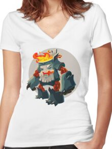 Burning Wood Man Women's Fitted V-Neck T-Shirt