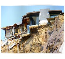 Living On The Edge - Earthquake Damage Sumner NZ Poster