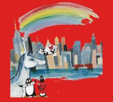 Unicorn and Penguins go to NYC Baby Tee
