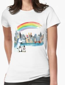 Unicorn and Penguins go to NYC Womens Fitted T-Shirt
