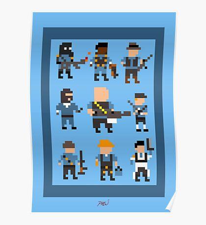 Team Fortress 2 8-Bit Blu Team Poster