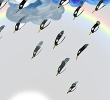 Clouds, Rain, Penguin and Rainbow by Jean Rim