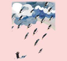 Clouds, Rain, Penguin and Rainbow One Piece - Short Sleeve