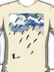 Clouds, Rain, Penguin and Rainbow T-Shirt
