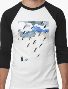 Clouds, Rain, Penguin and Rainbow Men's Baseball ¾ T-Shirt
