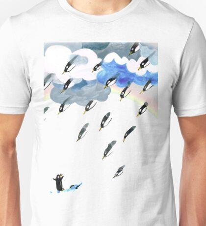Clouds, Rain, Penguin and Rainbow Unisex T-Shirt