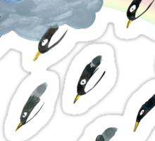 Clouds, Rain, Penguin and Rainbow Sticker