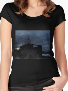 HDR Composite - Cross Lit and Backlit Abandoned Farmstead Women's Fitted Scoop T-Shirt