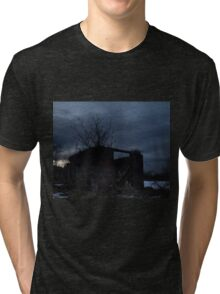 HDR Composite - Cross Lit and Backlit Abandoned Farmstead Tri-blend T-Shirt