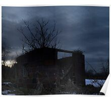 HDR Composite - Cross Lit and Backlit Abandoned Farmstead Poster