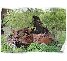HDR Composite - Dead Car Rusting at Abandoned Farmstead Poster