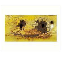 Bullet Holes on Cracked Yellow Art Print